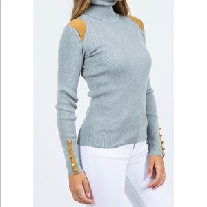 Tops - Gray Turtleneck with Suede Patches